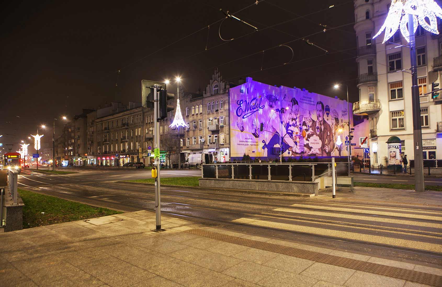 Ptasie Mleczko Iluminacja mural IDEAMO Wedel Warszawa